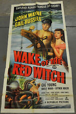 WAKE OF THE RED WITCH 1949 ORIGINAL 3-SHEET MOVIE POSTER JOHN WAYNE GAIL RUSSELL