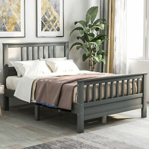 Wood Platform Bed with Headboard and Footboard Full Modern (Gray)