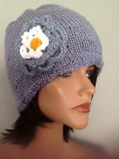 Beanie Slouch Hat Cap Hand  Knit Lilac Purple Silver Flower Designer Fashion