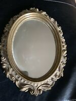 "Gilded Burwood Syroco Oval Mirror - Gold Color 9""x 11.5"" Ornate Design"