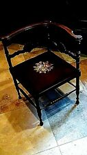 ANTIQUE VICTORIAN ENGLISH WALNUT CARVED NEEDLEPOINT LADY'S PARLOR ARMCHAIR, 1870