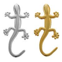 1X(2 pieces 3D Gecko Shape Chrome Badge Emblem Decal Car Sticker X4Q4)