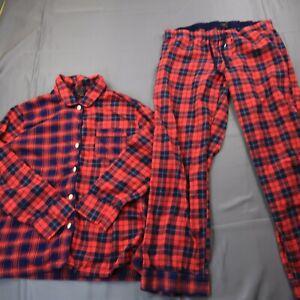 J. Crew Women's Large Red Tartan Plaid Flannel Pajama Set Button Up Cotton a232
