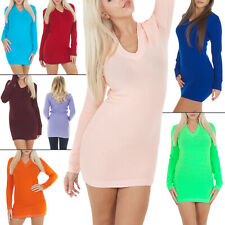 Womens Ladies Plain V-Neck Knitted Long Soft Stretchy Jumper Mini Dress Tunic
