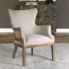 "26"" w Accent Chair linen weathered sandstone finish hand crafted spectacular"