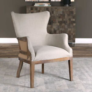 """26"""" w Accent Chair linen weathered sandstone finish hand crafted spectacular"""