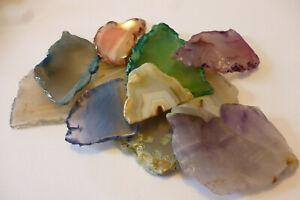 Lot of 10 Assorted Colours Polished Specimen Agate Quartz Geode Slices ~  Lot 12