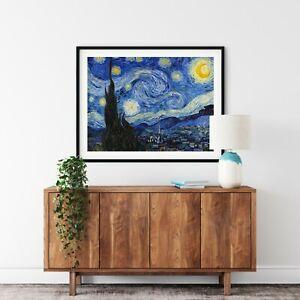 light Starry Night vincent Van Gogh Canvas print wall art big poster decor star