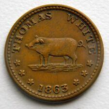 CivilWar Token 1863 - 630Ch-3a - Thomas White - New York - shows Boar Hog or Pig