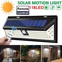LED Solar Power Lamp Outdoor Garden Yard PIR Remote Motion Sensor Ligh