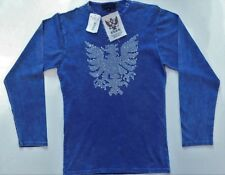 NWT RUSH Denim Blue Long Sleve Crew Neck 100% Cotton T-Shirt w/Bling Eagle (722)