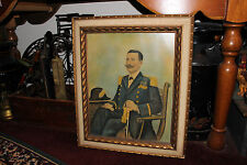 Antique Military Officer Portrait Painting On Canvas Fabric-Civil War Officer?