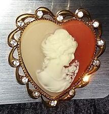 Brosche Herz Königin Strass Anstecknadel Pin Brooch Wien vergoldet Anstecker