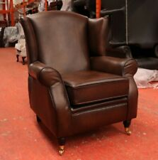 OBERON TAN BROWN REAL LEATHER HIGH BACK WING CHAIR FIRESIDE