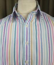 "Hackett 100% Cotton White Lilac Blue Brown Striped Shirt 16"" C42-44"""