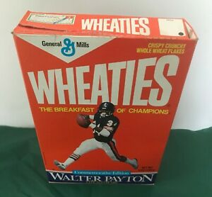 Chicago Bears Walter Payton running Wheaties 12 oz Commemorative cereal box