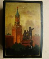 Soviet RUSSIAN LACQUER PAPIER-MACHE BOX Fedoskino painting Kremlin Moscov 1955