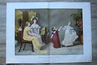 Kunst Druck 1900 Maude Goodman - Wenn alle Welt fröhlich ist Kinder Tanz 57x40cm