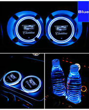 2PCS For Cadilla Car Auto Atmosphere Lights Colorful LED Car Cup Holder Pad Mats