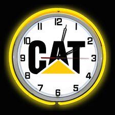 "Caterpillar CAT Logo 19/"" Yellow Double Neon Clock Equipment"