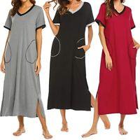 Women's Nightshirt Short Sleeve Nightgown Sleepwear Pockets Loose Long Dresses