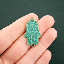 2 Hamsa Connector Charms Antique Bronze Tone With Faux Patina Accents - BC1659