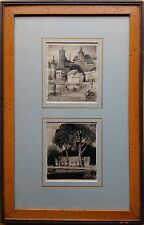 "GEORGE STIMMEL (LISTED AMERICAN) - PAIR CHARCOAL DRAWINGS - ""EUROPEAN VILLAGE""."
