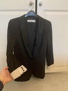 Zara Basic Blazer Jacket Black Satin Lapel Pinstripe Button Cuff 3/4 Sleeve S/M