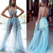 See Through Floral Lace Prom Dresses V Neck Backless Evening Party Gowns Custom