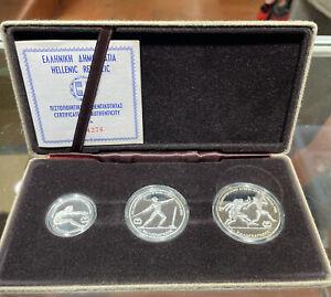 GREECE 1981 ATHLETICS SILVER PROOF 3 COIN SET - boxed/coa