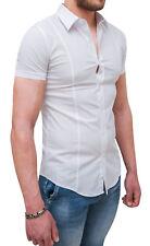 Chemise Homme Casual Blanc Élégant Manche Courte Slim Fit Coton DE S A XXXL