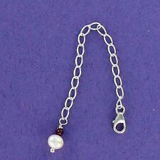 Necklace Extender, Garnet and Pearl .925, Sterling Silver 4 inch