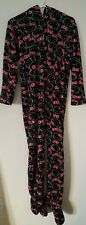 Hello Kitty Pajamas footed Hooded Adult Jump Suit Fleece Black Red White SZ Sm