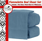 New OCEAN BLUE QUEEN KING Size EGYPTIAN COTTON FLANNELETTE FLANNEL BED SHEET SET