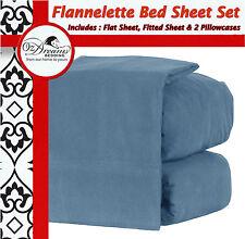 New OCEAN BLUE QUEEN KING Size EGYPTIAN COTTON FLANNELETTE FLANNEL BED SHEET SET