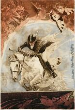 Woman Horse Rider, Butterfly,  Equestrian, Ex libris  Etching by Peter Velikov