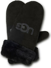 UGG Gloves Classic Logo Sheepskin Shearling Mittens Black S/M NEW