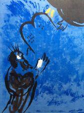 Marc Chagall, Original Farblitho 1956, Moses empfängt die Gesetzestafeln