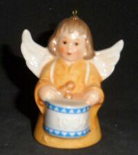 Vintage 1984 Goebel Angel with Drum Bell Ornament Brown Hair Yellow Dress Tmk-6