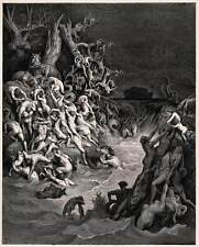 WORLD DESTROYED BY WATER, Dore Engraving Reproduction CANVAS ART PRINT 24x29 in.
