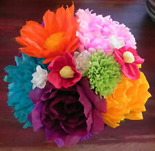 """Large Bouquet Mexican Crepe Paper Flowers Multicolor Bride """"I Special Order"""""""