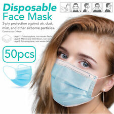 50 PCS Face Mask Non Medical Surgical Dental Disposable 3Ply Earloop Mouth Cover