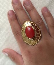 Vtg Huge Dead Pawn Navajo Dead Pawn Gold Sterling Silver Undyed Coral Ring~Size6