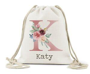 Personalised Drawstring Bag, Girls Pink Blue Initial Name,School.PE, Dance Bag