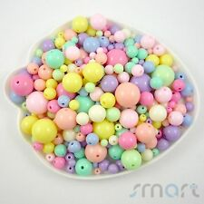 Multi-Colored Round Plastic Beads Jewelry Making 100g Size 6-20MM Craft DIY-B