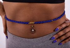 Blue triple strand twist with gold african waist bead