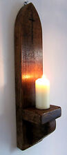 21 INCH TALL RUSTIC SOLID WOOD GOTHIC ARCH CHURCH WALL SCONCE CANDLE HOLDER