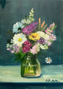 A4 Print of Original oil painting art summer flowers impressionism shabby chic