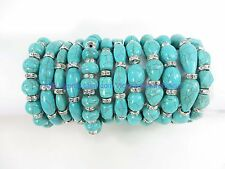 12 bracelets wholesale jewelry lot Turquoise Gemstone Beaded Stretchy Bracelet