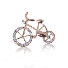 Rhinestone crystal bike bicycle gold bouquet brooch pin fashion jewelry